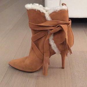 Schutz Shoes Shearling Trimmed Booties